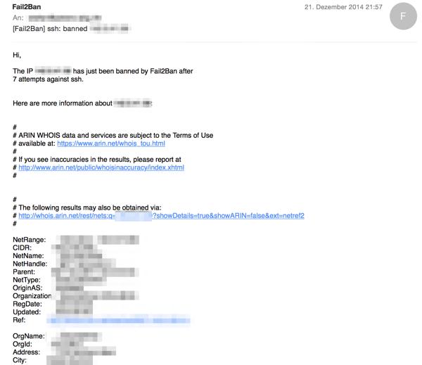 fail2ban Mail